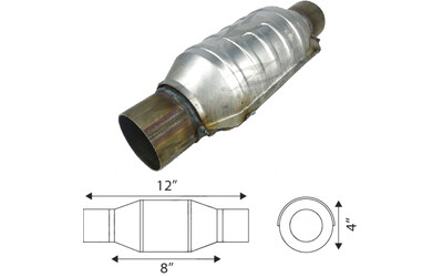 "Catalytic Converter - Euro IV, Inlet/Outlet Diameter 63.5mm(2-1/2""), CPSI 400, Capacity Up to 2.0L, Small body Round"