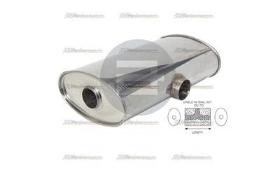 "Powerflow Stainless muffler 2.1/2"" centre inlet and twin 2.25""out each side"