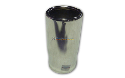 "2"" INLET 2.5"" OUTLET ROLLED END STRAIGHT CUT CHROME EXHAUST TIP"
